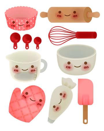 rolling bag: Cute Kitchen Utensil Illustration