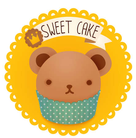 baby cupcake: Cute bakery badge and label