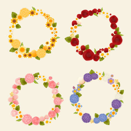 Sweet flower wreath card  Vector