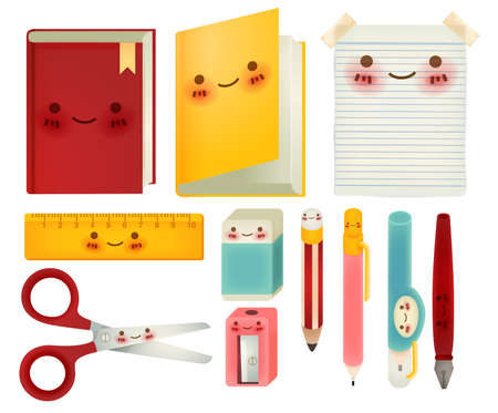 pencil sharpener: Set of back to school icons            Illustration