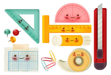 protractor: Set of back to school icons