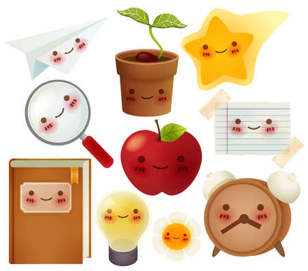 Set of back to school icons    Vector