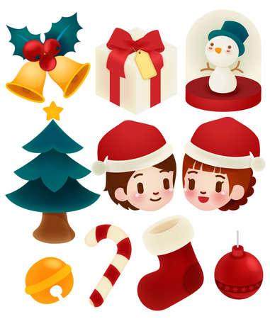 Set of adorable christmas icons  Vector