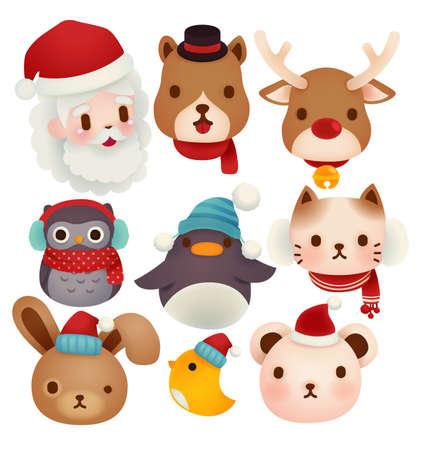 pinguinos navidenos: Conjunto de iconos de la Navidad adorables