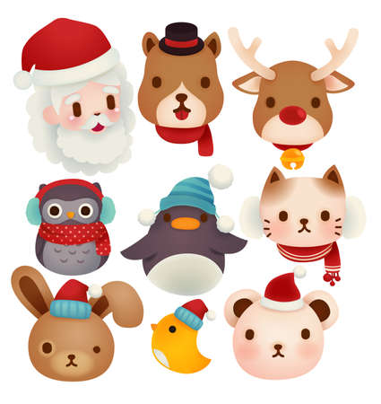 Set of adorable christmas icons  Vector