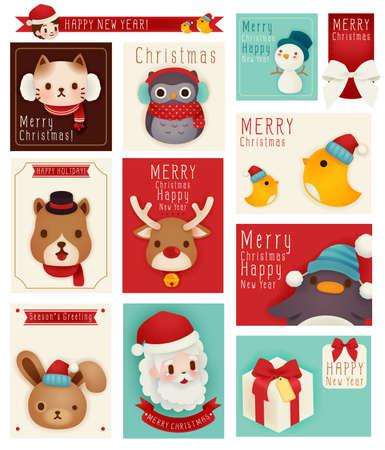 pinguinos navidenos: tarjeta de saludo de la estación Vectores