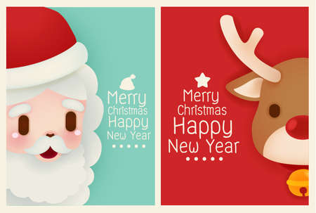 santas: Adorable Santa and reindeer card