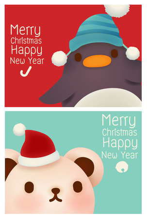 Adorable Penguin and Polar Bear card Vector