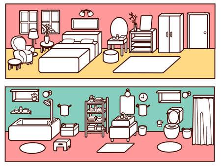 a toilet stool: Set of Adjustable Interior Furniture Design - Vector file EPS10