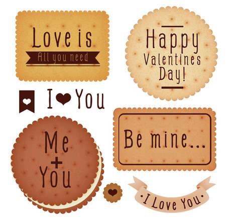 Set of Valentine\'s day label 일러스트