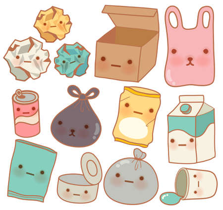 Set of Cute Rubbish  Vector