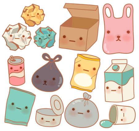 plastic bottle: Set of Cute Rubbish  Illustration