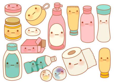 bathroom cartoon: Set of Cute Rubbish  Illustration