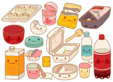 ice cream soft: Set of Cute Rubbish  Illustration