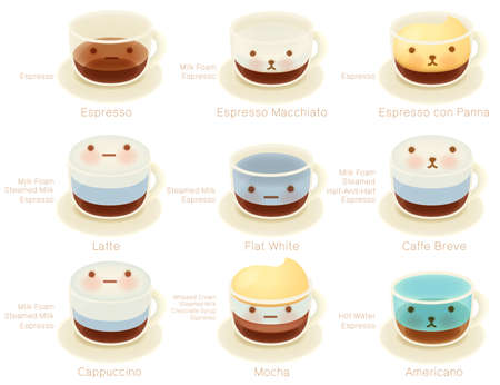baby stickers: Adorable Coffee List Character  Vector file EPS10