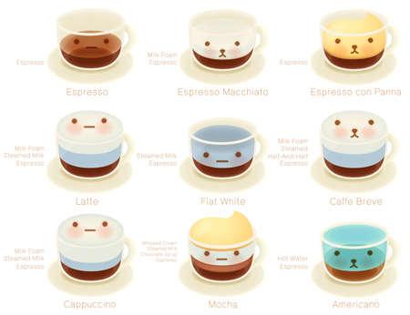 tomando leche: Lista café adorable EPS10 archivo vectorial Carácter Vectores