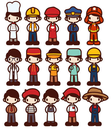 professions: Personaje de dibujos animados en Varios Trabajo archivo vectorial EPS10