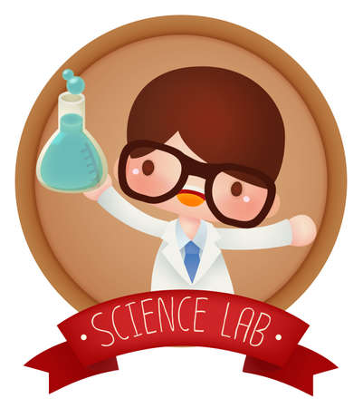 science experiment: Adorable Science banner  Vector file EPS10 Illustration