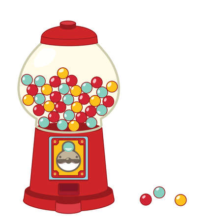 gumball: Vintage gumball machine isolated on white  Vector file EPS10 Illustration