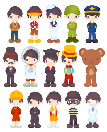 carrer: Character Cartoon in Various Job  Vector file EPS10 Illustration