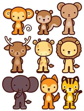 adorable wild animal character  Vector File EPS10 Vector