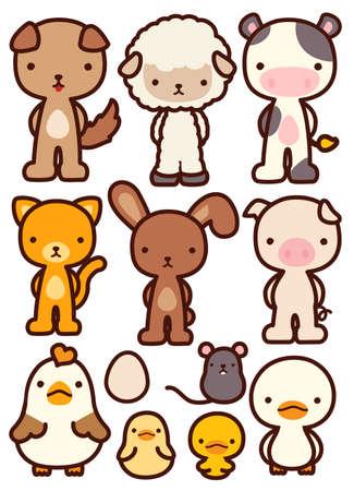 japonais: Collection de Adorable Pet Caractère - vecteur fichier EPS10