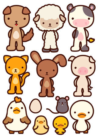 japanese children: Collection of Adorable Pet Character - Vector file EPS10
