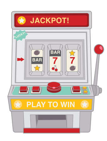 Vintage slot machine toy isolated on white - Vector file EPS10 Çizim