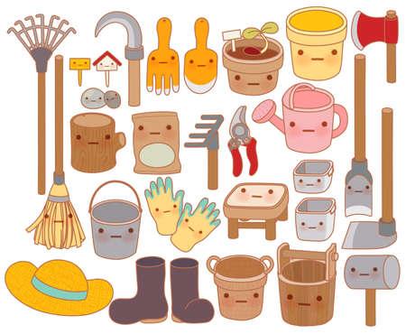 sombrero de paja: Conjunto de herramientas de jard�n de dibujos animados adorable, botas de goma lindo, dulce sombrero de paja, encantadora regadera aislado en blanco en el estilo de dibujo kawaii - Vector EPS10 archivo Vectores