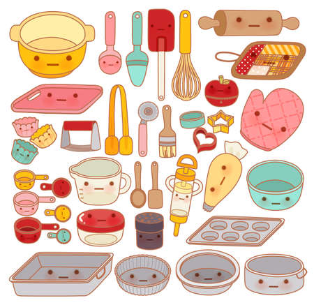 pasteles: Colección de herramienta preciosa pastelería y equipos, lindo palo de amasar, cacerola adorable, dulce manopla Aislado en blanco en el estilo femenino de dibujos animados manga kawaii - Vector EPS10 archivo