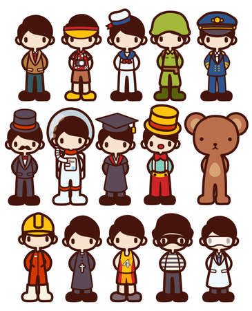 carrer: Character Cartoon in Various Job - Vector file EPS10