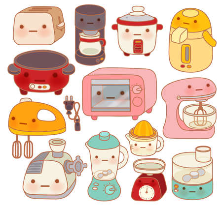 ustensiles de cuisine: Réglez d'appareils de cuisine, bouilloire adorable mignon, beau four, mixeur douce isolé sur blanc dans le style de griffonnage de chlildlike - vecteur fichier EPS10