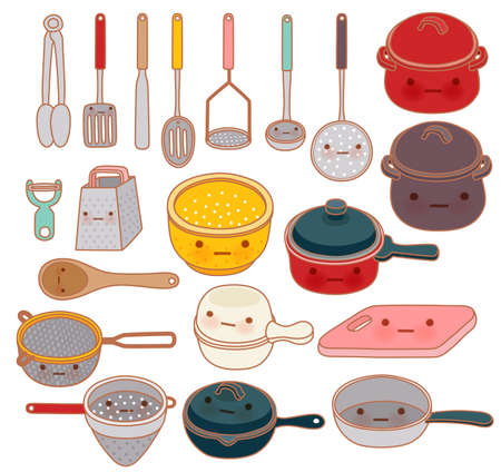 strainer: Collection of lovely kitchenware , cute grater , adorable pan , lovely pot Isolated on white in kawaii hand drawn style - Vector file EPS10