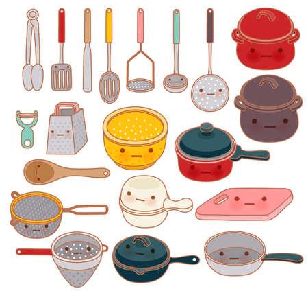 reibe: Sammlung von sch�nen Geschirr, niedlich Reibe, adorable pan, sch�ne Topf isoliert auf wei� in kawaii handgezeichneten Stil - Vector-Datei EPS10 Illustration