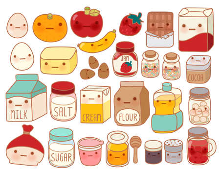 cartoon cake: Collection of lovely cake ingredient icon , cute egg , adorable milk , sweet flour , kawaii strawberry, girly butter Isolated on white in childlike manga cartoon style - Vector file EPS10