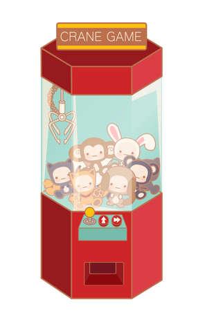 Kraan game machine met schattige pop en mooie speelgoed op wit wordt geïsoleerd - Vector-bestand EPS10