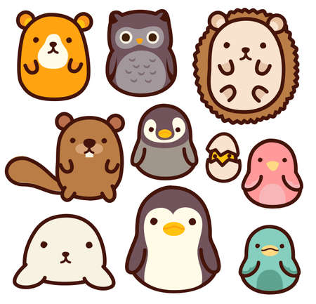 Penguins: adorable wild animal character - Vector File EPS10