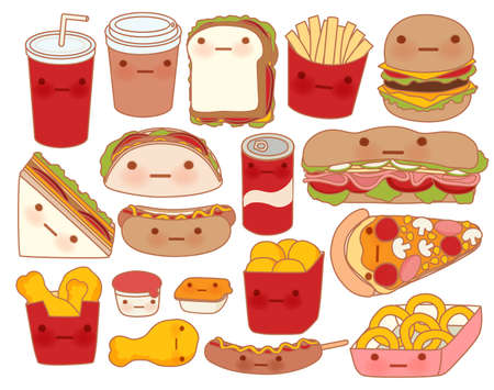 Collection of lovely baby food doodle icon , cute hamburger , adorable sandwich , sweet pizza , kawaii coffee , girly taco in childlike manga cartoon style - Vector file EPS10