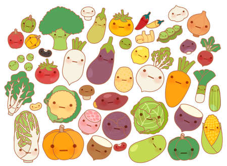 Collection of lovely fruit and vegetable icon , cute carrot , adorable turnip , sweet tomato , kawaii potato, girly corn Isolated on white in childlike manga cartoon style - Vector file EPS10 Çizim