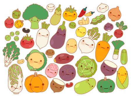 Het verzamelen van mooie groenten en fruit pictogram, leuke wortel, schattig raap, zoete tomaat, kawaii aardappel, girly maïs geïsoleerd op wit in de kinderlijke manga cartoon stijl - Vector-bestand EPS10 Stock Illustratie