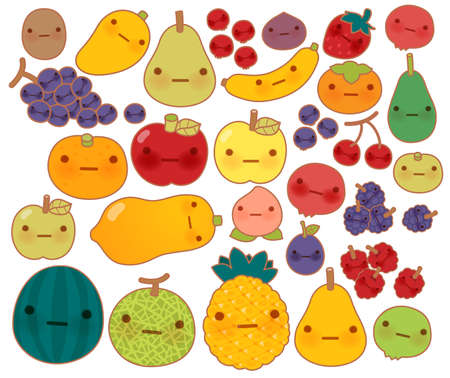 Collection of lovely baby fruit and vegetable doodle icon , cute strawberry , adorable apple , sweet cherry , kawaii banana , girly mango in childlike manga cartoon style - Vector file EPS10