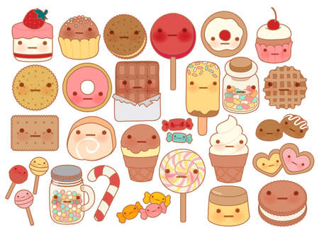 Collection of lovely baby sweet and dessert doodle icon , cute cake , adorable candy , sweet ice cream , kawaii jelly bean , girly cookie in childlike manga cartoon style - Vector file EPS10 Illustration