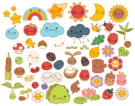 Collection of lovely baby forest nature doodle character icon ,cute star ,adorable flower ,sweet fruit ,kawaii rainbow ,girly bug ,comic apple in childlike manga cartoon style - Vector file EPS10 Illustration