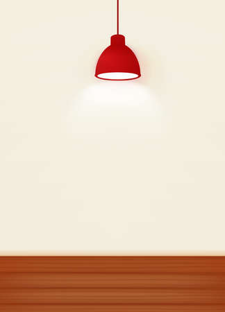 lamp: Illustration of White wall illuminated by the red ceiling lamp with copy space for text - Vector file EPS10 Illustration
