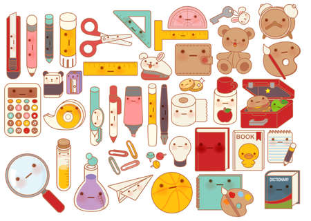 corrector: Collection of lovely baby stationery character doodle icon , cute pencil , adorable teddy bear doll , sweet lunchbox , kawaii book , girly pen in childlike manga cartoon style - Vector file EPS10 Illustration
