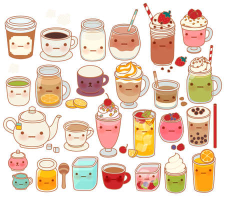 milk tea: Collection of lovely hot and cold drink icon , cute tea , adorable milk , sweet coffee , kawaii smoothie, girly matcha green tea Isolated on white in childlike manga cartoon style - Vector file EPS10