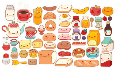 Collection of lovely baby breakfast set doodle icon , cute cereal , adorable bread , sweet strawberry jam , kawaii pancake , girly milk in childlike hand drawn manga cartoon style - Vector file EPS10