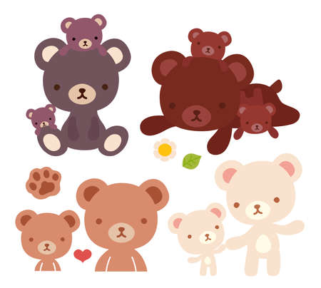 hold hand: Collection of lovely bear family doodle icon, cute papa bear , kawaii mama bear, adorable baby bear hold hand and family hug in childlike manga cartoon style isolated on white-Vector file EPS10 Illustration