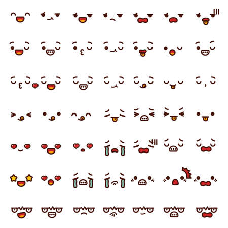 piss: Collection of cute lovely emoticon emoji Doodle cartoon face angry, happy, wink, fun, sad, shock, cry, in love, smile, laugh,kiss isolated on white in childlike manga cartoon style - Vector file EPS10