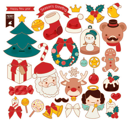 childlike: Collection of lovely Christmas doodle icon, cute snowman, adorable angel, sweet wreath , kawaii gingerbread , girly xmas ornament in childlike manga cartoon style isolated on white-Vector file EPS10